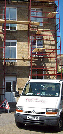 scaffolding with a quickfit scaffold van